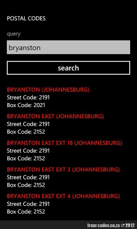 Zip Postal Code South Africa 98