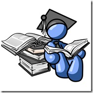 Blue Male Student in a Graduation Cap, Reading a Book and Leaning Against a Stack of Books Clipart Illustration