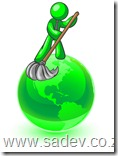 Lime Green Man Using A Wet Mop With Green Cleaning Products To Clean Up The Environment Of Planet Earth Clipart Illustration